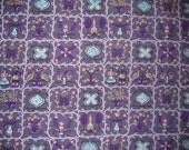 "Vintage 1950s Lavender Purple Barkcloth Fabric With Folk Art Armericana Design - 64"" x 45.5"""