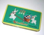 Vintage White Rabbit Creamy Candy Tin in Green & Yellow