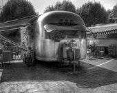 Airstream, Airstream trailer, Airstream black and white, black and white photography, black and white photo, travel photo, RV, camping photo