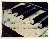Polaroid transfer, piano, music, keyboard, fine art photography, music home decor, original polaroid transfer, piano home decor, photo piano