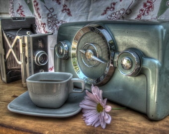Vintage Radio photo, Coffee Cup photography, antique radio photography, tea cup photography, coffee photography, polaroid camera photography