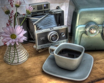 Midcentury modern home decor, midcentury, coffee, polaroid, vintage radio, retro polaroid