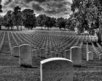 Jefferson Barracks Cemetery fine art print, black and white photography cemetery, cemeteries, soldiers, graveyard photo, veterans cemetery