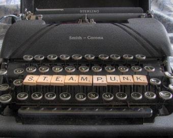 set of 3 Steampunk greeting cards typewriter scrabble