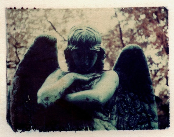 Angel Polaroid transfer, Angel home decor, fine art photography, Angel, polaroid transfers, Graveyard, statue, cemetery, mourning