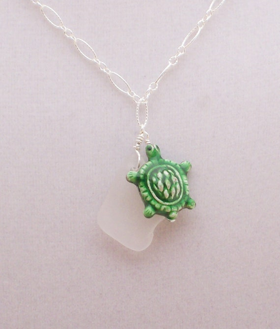 White Sea Glass and Metal Enamel Turtle pendant sterling silver necklace