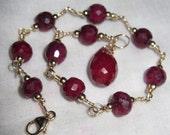 Exquisite 14k gold filled Ruby Bracelet