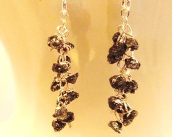 Cascading Black Rough Diamond Earrings