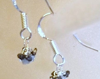Black and White Raw Diamond Earrings
