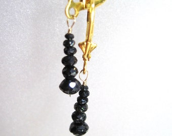 30 to 40 Carats Black Faceted Rough Hand Cut Natural Diamond Earrings