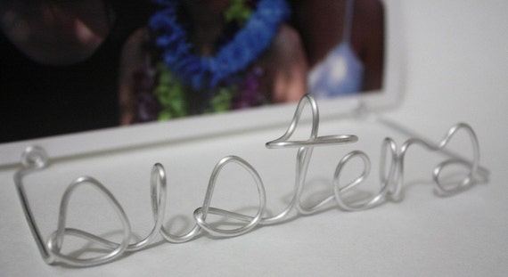 SILVER personalized wire photo holder