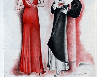 Ladies Long Velvet Evening Gown with  Wrap Drawing 1931,Magazine Print Ad, Drawing by Carolyn Edmundson, Evening Mode Dresses, Fancy Dresses