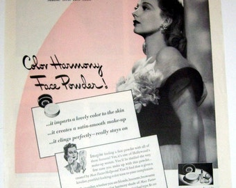Vintage 1942 Max Factor Hollywood Actress Ann Sothern Ad, Face Powder Ad, Hollywood Rought and Lipstick, Movie Star, Entertainment, Movies