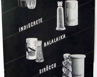 Original Black and White  Lucien Lelong Perfumes Advertising  Tailspin, Indiscrete, Balalaika and Sirocco Cologne, Cool Ad