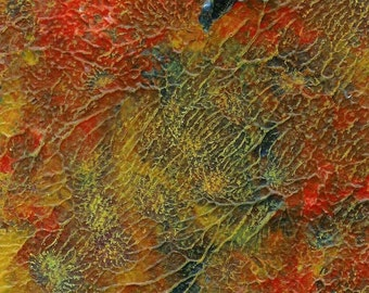 Fine Art Golden Autumn - 5 X 7 Original Acrylic and Pastel Abstract Painting