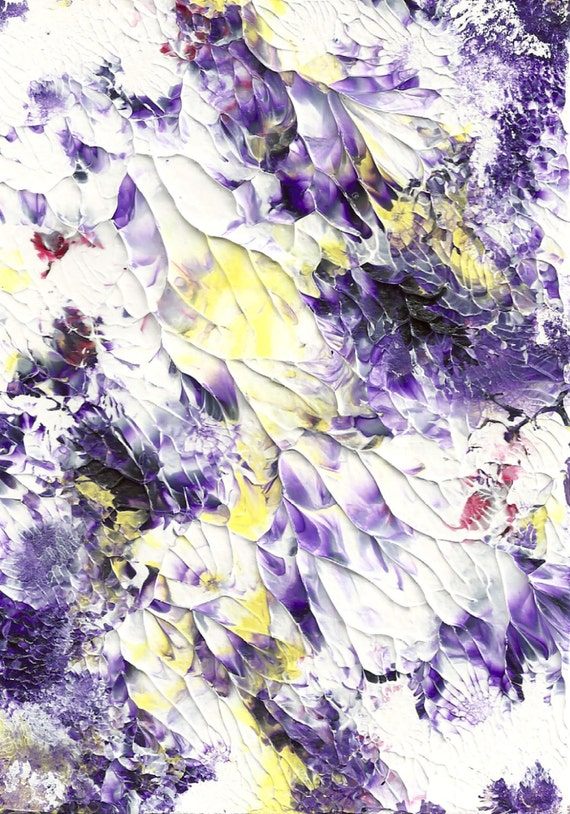 Abstract Acrylic Fine Art painting - Purple and Yellow Beauty