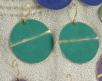 Lg Turquoise Brass Patina Disc Earring