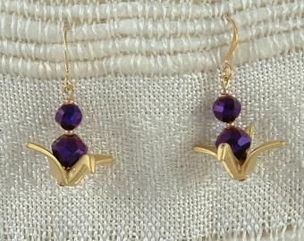 SALE ... purple oragami crane earring