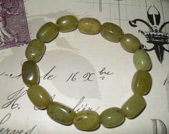 Olive Jade Nugget Stretch Bracelet