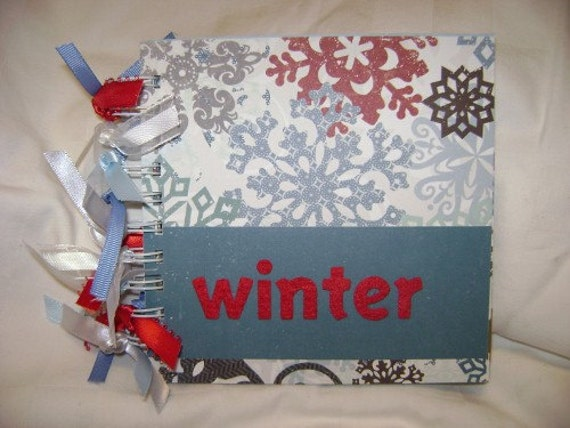 WINTER 6x6 Chipboard Mini Scrapbook Album- PREMADE