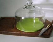 Vintage Cheese Board with Green Tile under Clear Glass Cloche - Display Case - Terrarium