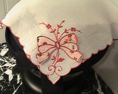 Vintage White Hankie with Brilliant Red Border and Attached Pink patterned Bow
