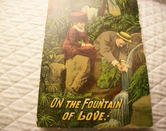 Vintage Postcard -On The Fountain Of Love (004)