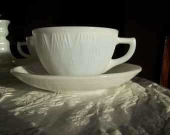 Vintage Milk White Teacup and Saucer 1950's - Lines are like PRECIOUS Jewels.