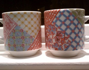 Pair of Colorful Petit Coffee Cup - quilt patchwork