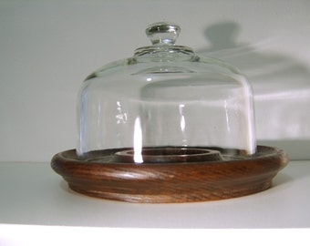 Vintage Walnut Serving Tray with Glass Cloche
