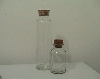 Vintage  Glass Jars with Cork Lid - set of 2