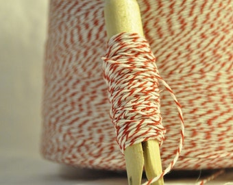 25 Yards - Bakers Twine - Maraschino Cherry Red and White
