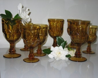 Vintage Amber-Gold Stemmed Glasses - Set of 8 - 4 Juice -  4 Tea/Water