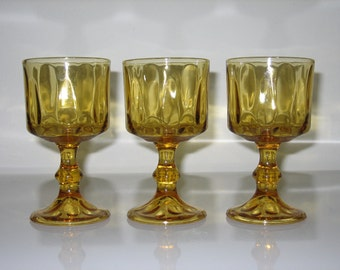 Vintage Amber-Gold Stemmed Glasses - set of 3 - add to your Collection