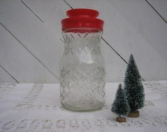 Vintage Pressed Glass Jar with Red Plastic Lid