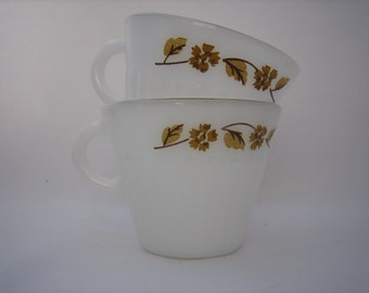 Vintage Set of 2 -  Mid Century White- Fluted Glass Cups/Mugs with Honey Gold Brown Embellishment