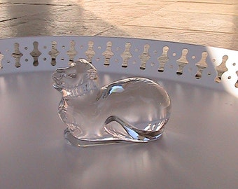 Vintage Clear Glass Tiger Cat Paperweight by Atlantis - Lead Crystal - Portugal