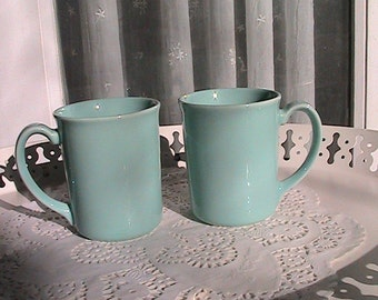 Vintage Set of 2 Twin Mugs by Corning - Beach -  Porch Ceiling Blue - made in U.S.A.