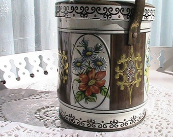 Vintage Biscuit Tin with a Handle - Made in England - Petite - Floral Bouquet