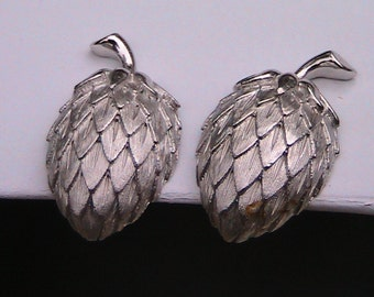Vintage Trifari Silver  Strawberry Clip Earrings - Signed