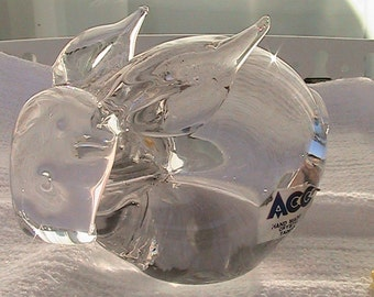 Vintage Crystal Bunny Figurine - Paper Weight - hand made