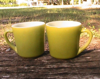 Vintage Fire King Green Glass Mugs - Set of 2 / Cups