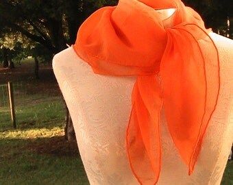 Vintage Tangerine Orange Scarf - Lady Heritage - Chiffon -  Summer