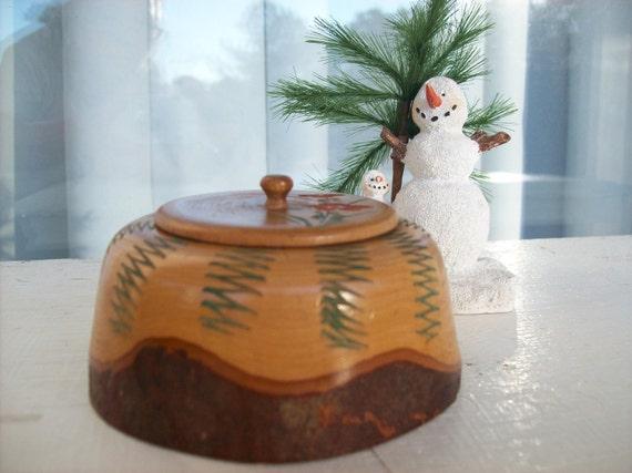 Vintage Little Round Wood Trinket Souvenir Box-paint it Pink  with Glitter Polka Dots-or Blue Robots
