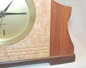Winged Tambour D, Retro 20th Century Modern Exotic Wood Clock
