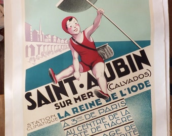 Vintage French Tennis Swimmer Poster