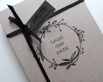 Earthy and Economical Save the Date Postcards - set of 40, Rustic Modern Wedding, Recycled Save the Date Postcards