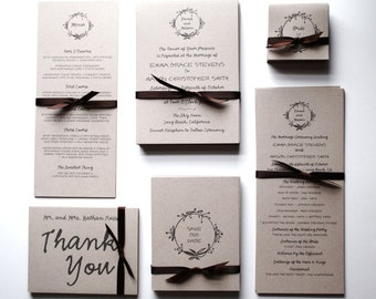 Wedding Invitations & RSVP Postcards: earthy and economical series (SAMPLE), Recycled Wedding Stationery, Rustic Modern Wedding Stationery