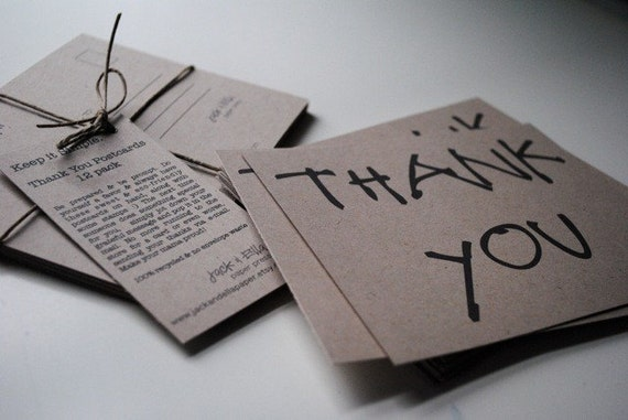12-Pack Thank You Postcards: Kraft Thank You Postcards, Simple Stationery, Blank Postcards