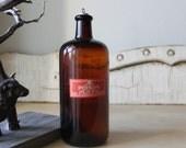 Vintage Dark Amber Glass Poison Bottle